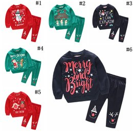 21941ffca3 Children Christmas Pajamas Suits 6 Styles Boys Girls Sleepwear Long Sleeve  Cartoon Santa Claus elk Snowman Clothing Set 36sets OOA5992