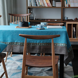 sky blue table runner NZ - Mediterranean style table cloth dinning room Table runner Splicing cloth simply style table Tea Towel Shooting background cloth
