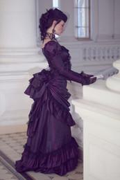 $enCountryForm.capitalKeyWord Australia - Victorian Gothic Purple Wedding Dresses Retro Royal House Ball Duchess Wedding Gowns Long Sleeves Lace Ruched Renaissance Aristocracy Dress