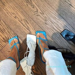 band straps Australia - Summer Women Sandals Narrow Band Vintage Square Toe High Heels Buckle Strap High Heel Sandals Women V-neck Designer Shoes Women t04