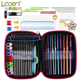 crochet hooks knit needles NZ - Looen Crochet Hook 100pcs With Yarn Knitting Needles Sewing Full Set Knit Gauge Scissors Stitch Holders Craft Tools Q190531