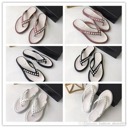 $enCountryForm.capitalKeyWord Australia - 2019 women summer slippers elegant slide flip flop flat heel with beadings genuine leather comfortable solid color with box size 34-40