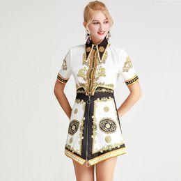 $enCountryForm.capitalKeyWord NZ - Women's Runway Twinsets Turn Down Collar Short Sleeves Printed Shirts with High Waist Skirts Two Piece Dress Sets