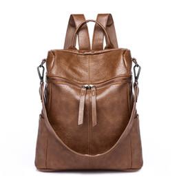 $enCountryForm.capitalKeyWord Australia - Women Leather Backpack Bag Vintage Mochila Black Brown High Quality PU Shoulder Bag Simple Youth School Backpack for Girls
