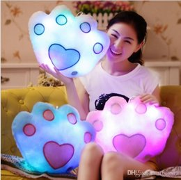 feet soft toys UK - LXH TF Bear foot Stuffed Dolls LED Light Colorful Pillows Popular Plush Toys for Kids shinning gift for baby birthday cute soft