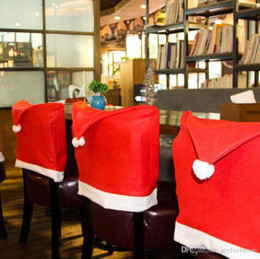 Party Chairs For Sale Wholesale Australia - New Sale 1 Pcs Christmas Chair Cover Santa Clause Red Hat Christmas Dinner Table Party Chair Back Cover Christmas Decor for home