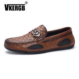 VKERGB G-ring hebilla de calidad superior zapatos de vestir de moda de cuero genuino Casual hombres zapatos para hombre zapatos del barco mocasines rojo genuino # 55084
