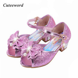 $enCountryForm.capitalKeyWord NZ - Children sandals princess style party shoes for girls glitter wedding girl sandals crystal High heel shoes Pink gold blue sandal