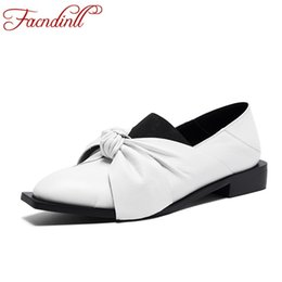 $enCountryForm.capitalKeyWord NZ - wholesale women 2019 new genuine leather pumps low square heels black white butterfly-knot classics woman dress casual shoes