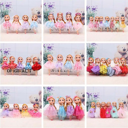Handmade wedding dolls online shopping - Baby Dolls Keychain cm Vinyl Adorable Mini Handmade Wedding Dress Dolls Blonde Car Decoration Girl Play Toys