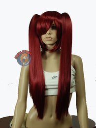 kanekalon lace wigs NZ - peruvian pad hair women's no lace Kanekalon 28 inch Wine Red Kanekalon Cosplay DNA Wig with Clip-on Ponytails