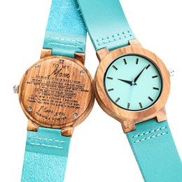 "handmade gifts for mom NZ - Unique Blue Wooden Watches Watch Handmade Engraved ""TO MY Mom"" Ladies Dress Clocks Present a Great Gift for Mom dames horloges"