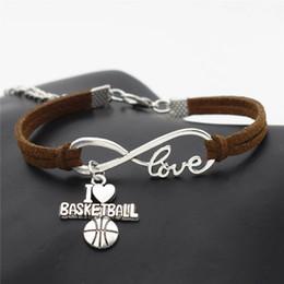 $enCountryForm.capitalKeyWord Australia - Infinity Love Basketball Soccer Volieyball Baseball Football Pendant Bracelets For Women Men Couples Simple Dark Brown Leather Suede Jewelry