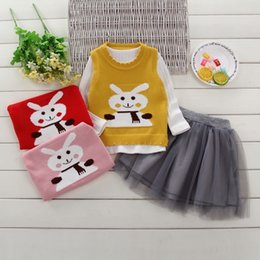 Girls Vest Knitting Australia - 2019 Toddler Kids Girl Clothes Set New Fashion Long Sleeve Solid T-shirt Tops +Knitted Vest +Tutu Skirt 3PCS Outfit Child Suits