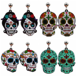 acrylic skull pendant wholesale Canada - Halloween Christmas Personality Skeleton Acrylic Pendant Earrings Dangle Skull Cross Ghost Head Ear Studs Eardrop Earring For Women Jewelry