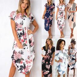 8bd4d159472 Женское Макси Бохо с цветочным принтом Летний пляж Длинные платья Вечернее коктейльное  платье