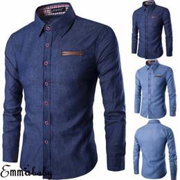 Wholesale formal shirts new fashion for sale – dress Men s Luxury Casual Formal Shirt Fashion Denim Jeans Shirts Button New Stylish