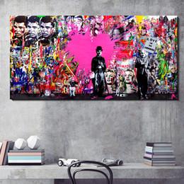 Vente en gros Grand Toile Mur Décor Pop Art Peinture Abstraite Rue Graffiti Mur Photo Imprimer sur Toile pour La Maison Salon Mur Décoration