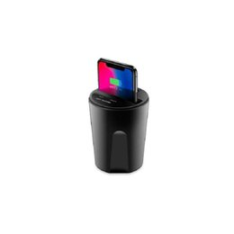Usb Charger Holder Iphone Car Australia - 10W Fast Qi Wireless Charger for iPhone Cylindrical X8 Car Wireless Charger Cup Holder with USB Output for Samsung Car Charger
