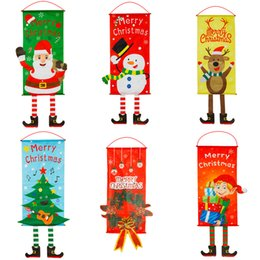 Christmas deCor for outdoor online shopping - Merry Christmas Decorations For Home Outdoor Window Door Santa Claus Hanging Ornaments Cloth Banner Flag Decor New Year Gifts