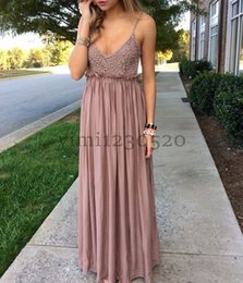 special roses UK - Dusty Rose Prom Dresses Spaghetti Beads Floor Length Chiffon Long Formal Evening Party Gowns Special Occasion Dress for Sweet 16
