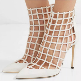 8d4d79fdc6c White Red Ankle Boots Pointy Toe Stiletto Heels 2019 Summer New Cut Out  Caged Design Gladiator Summer Booties Women Sandals