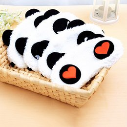 sleeping mask wholesale NZ - 1pcs Lovely White Panda Face Sleep Masks Eyeshade Shading Cotton Sleep Party Mask Blindfold Nap Cover Party Accessorise 18*10cm
