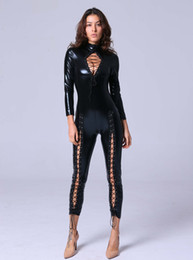 $enCountryForm.capitalKeyWord Australia - Newly Sexy Black Faux Leather Jumpsuit Women Open Chest Lace Up Romper Tight-fitting Catsuit Novelty Club Party Costume