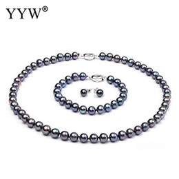 188fa04bcb85 Conjuntos de joyas de perlas de agua dulce cultivadas naturales
