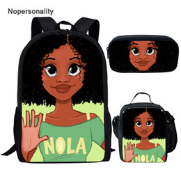 cute school boxes Australia - Twoheartsgirl Cute Black American African School Bags for Teenage Girls Cartoon Junior Primary Child Bookbags with Lunch Box