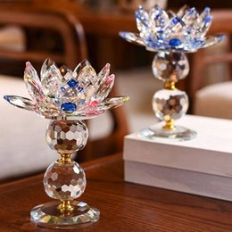 acrylic balls decoration UK - ABUI-New Lotus Candlestick Decoration Feng Shui Home Decoration Accessories Holder Glass Fashion Candle Holders
