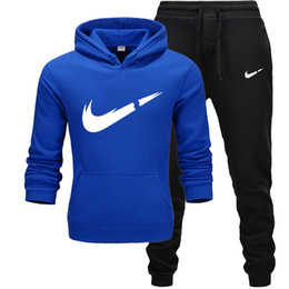 Champagne man suit online shopping - New Brand Tracksuit Men Thermal Men Sportswear Sets Fleece Thick Hoodie Pants Sporting Suit Casual Sweatshirts Sport Suit