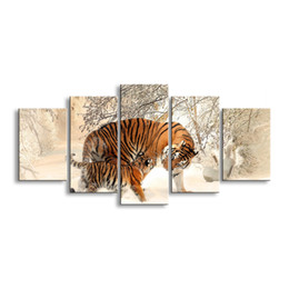 $enCountryForm.capitalKeyWord Australia - 5 pieces high-definition print tiger canvas painting poster and wall art living room picture B-012B