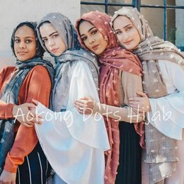 islam prints Australia - One piece solid plain dots hijab scarf oversize islam shawl head wraps soft long muslim scarf cotton blend plain
