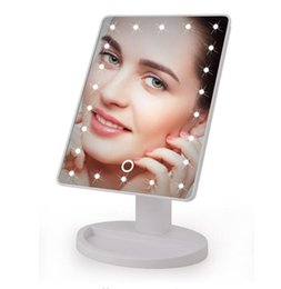 Rotating Touch Screen Australia - LED Touch Screen Makeup Mirror Professional Vanity Mirror With 16 LED Lights Health Beauty Adjustable Countertop 22 Rotating