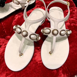 $enCountryForm.capitalKeyWord Australia - Retro Beads Stud Women Sandals White Black Red Flip Flops Summer Beach Slippers Genuine Leather Ankle Buckle Gladiator Sandals