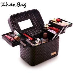 $enCountryForm.capitalKeyWord Canada - Women Professional Big Suitcase For Make Up With Mirror Ladies PU Cosmetic Box Organizer Bag Female Artist Makeup Bags Case 316 Y181122