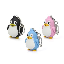 Sound Gifts Australia - Fashion Cute Cartoon Penguin With LED Light And Sound Keyfob Kids Toy Gift fun gift Z