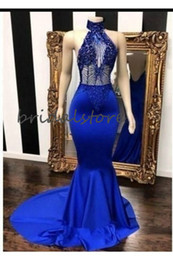 low back mermaid evening dresses Australia - New Royal Blue Mermaid Evening Dresses Sexy Halter Low Back Prom Dresses With Beaded Train Tight Formal Special Occasion Reception Dress
