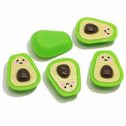 craft embellishment wholesale Australia - Cute Cartoon Fruit Flatback Resin Cabochon Smiling Face Avocado Planar Resin For DIY Craft Embellishments