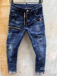 Wholesale mens fashion printed jeans resale online – designer Italian luxury Rose Embroidered Jeans New Design Men Jeans Slim Fit Mens Printed Jeans Biker Denim Pants