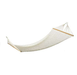 GSFY-White Outdoor Mesh Cotton Rope Swing Hammock Hanging on the