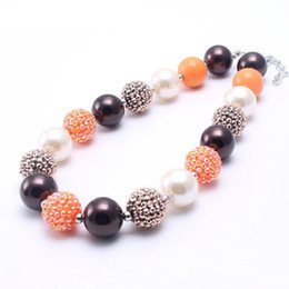 best christmas gifts for babies NZ - Coffee+Orange Color Fashion Baby Kid Chunky Necklace Best Gift New Design Bubblegume Bead Chunky Necklace Jewelry For Baby Kid Girl