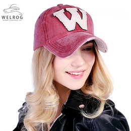 baseball cap letter w 2019 - WELRIG 1PC Korean Style Washed Denim Snapback Caps Spring Summer Cotton Letter W New Men Women Baseball Cap Sunblock Hat