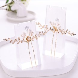vintage bridal hair jewelry 2019 - Vintage Freshwater Pearl Gold Bridal Hairpins And Clips Barrettes Heart Crystal Hair Accessories Handmade For Women Hair