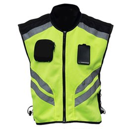 safety strips NZ - Multi-pockets High Visibility Zipper Front Safety Vest with Reflective Strips C6UB