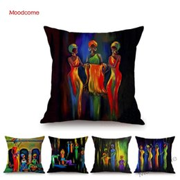 $enCountryForm.capitalKeyWord Australia - Dancing African Women Abstract Oil Painting Home Decoration Car Pillow Cotton Linen Africa Impression Black Woman Cushion Cover