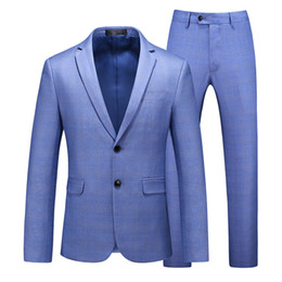 wedding dress two piece for man Australia - MOGU New Men's Plaid Blazer Two-Piece Two Button Slim Fit Wedding Dress for Men Fashion Casual Suits Asian Size 5XL for 3 Colors