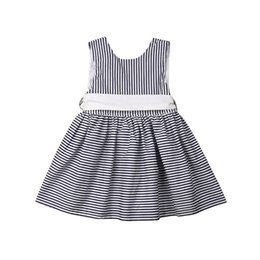 Crimson Ties Australia - 2019 Toddler Infant Little Girl Princess Dress Sleeveless Bow Tie Striped Casual Cotton Cute Summer Fashion Costume New Sale Hot