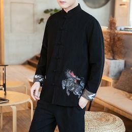 Linen Dress Suit Australia - Chinese style 2019 spring dress Unicorn embroidery Button cotton and linen Hanfu suit